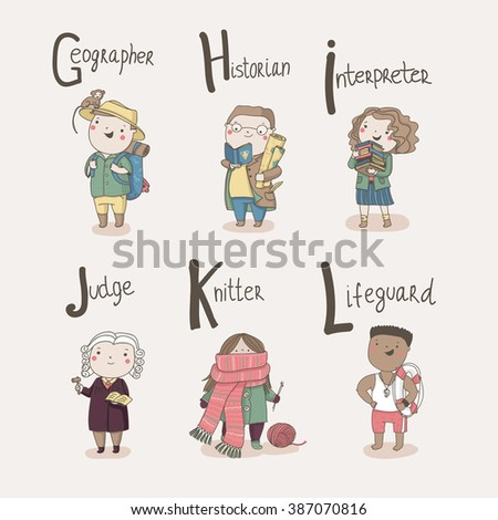 Cute alphabet Profession. Letters: G - Geographer, H - Historian, I - Interpreter, J - Judge, K - Knitter, L - Lifeguard - stock vector