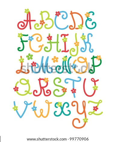 cute alphabet. vector illustration - stock vector