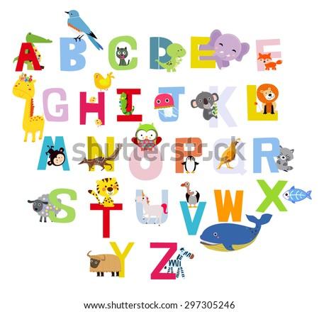 Cute alphabet with animals - stock vector