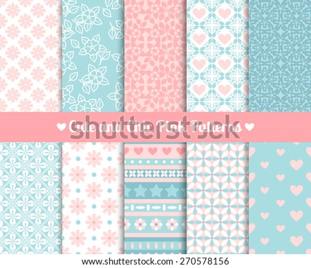 Cute and Chic Pink and blue Patterns. Endless texture for paper or scrap booking - stock vector