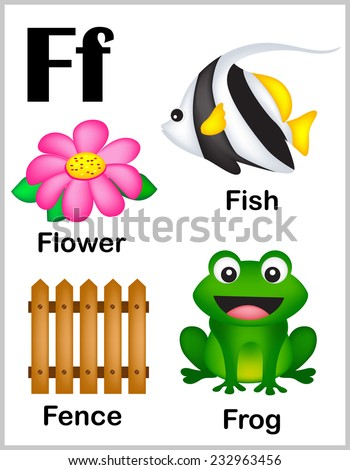 Cute and colorful alphabet letter F with set of illustrations and words printable sheet.  - stock vector