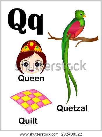 Cute and colorful alphabet letter Q with set of illustrations and words printable sheet.  - stock vector