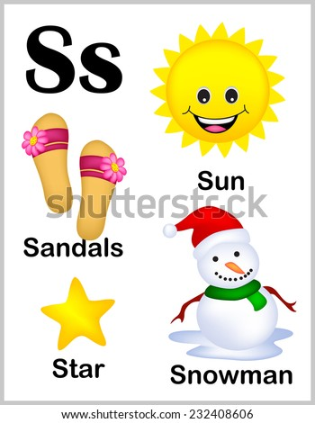 Cute and colorful alphabet letter S with set of illustrations and words printable sheet.  - stock vector