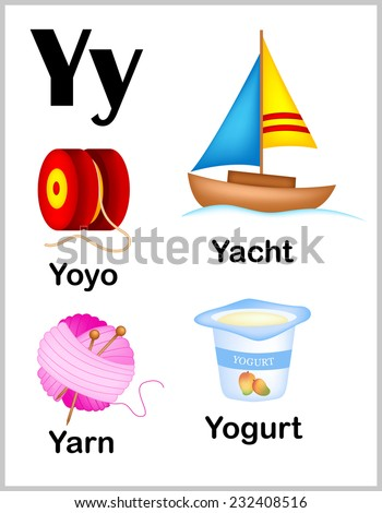 and colorful alphabet letter Y with set of illustrations and words ...