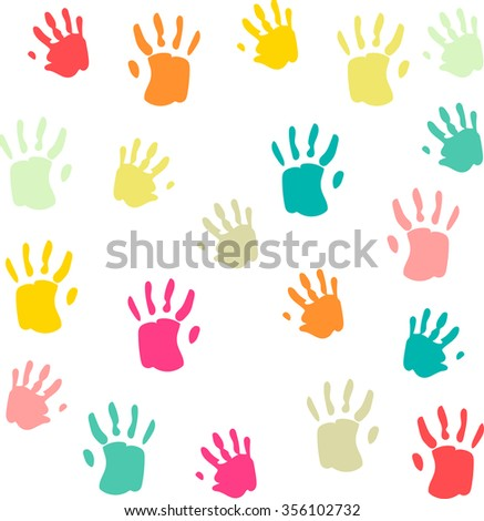 Cute and colorful baby palmprints seamless pattern white background