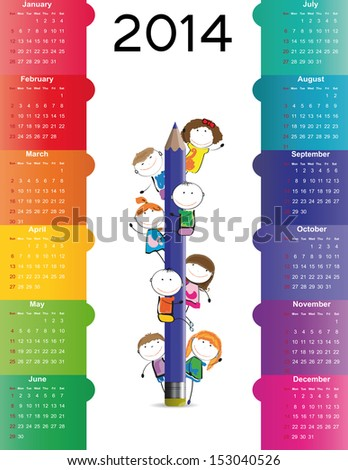 Cute and colorful calendar on 2014 year - stock vector