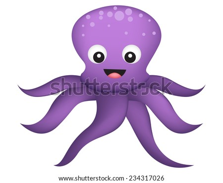 Cute and colorful happy octopus illustration isolated on white background