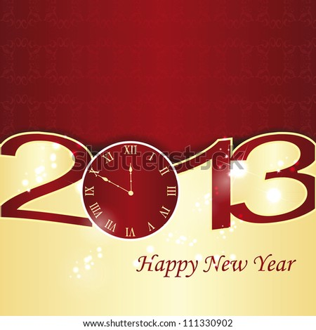 Cute and elegant card on New Year 2013 - stock vector