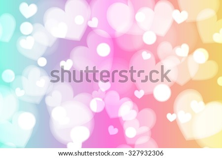 cute and fresh rainbow heart bokeh and glitter or sparkle background - stock vector