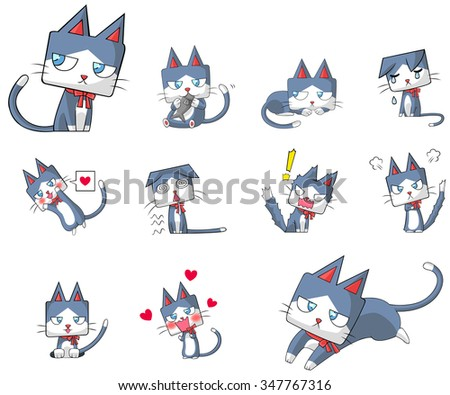 Cute and funny cartoon kitten cat character mascot with ribbon collar in various action and expression icon collection set in Japanese manga style, create by vector.