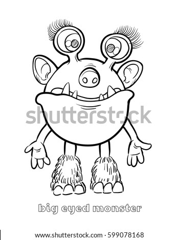 Cute Funny Halloween Monster Coloring Page Stock Vector 599078168 ...