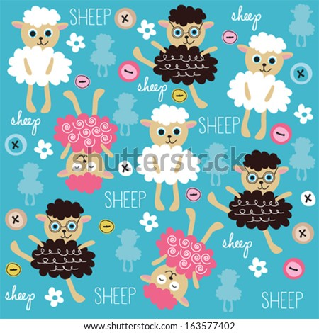 cute and funny sheep pattern with colorful buttons vector illustration - stock vector