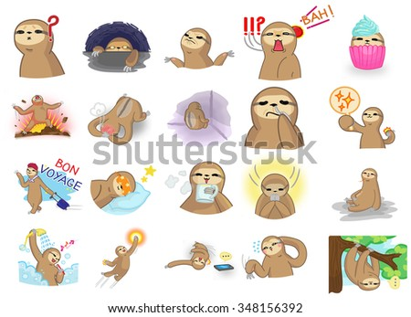 Cute and funny vector cartoon sloth character mascot in action and expression icon set 2 in Japanese manga style. Sloth is a wildlife mammal similar to money or gibbon but move very slow on a tree.  - stock vector