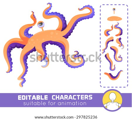 Cute and funny water monster with one eye and many tentacles. Neutral or positive editable character. Suitable for animation, video and games.You can change color, position of body parts and size - stock vector