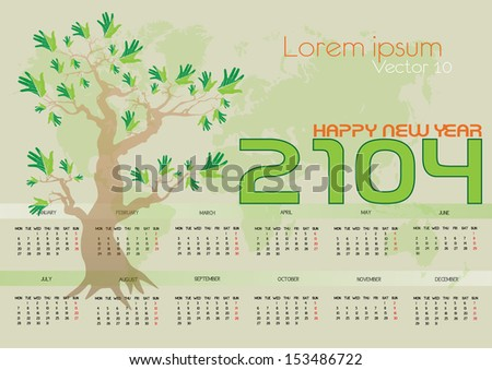 cute and green calendar on 2014 year with map