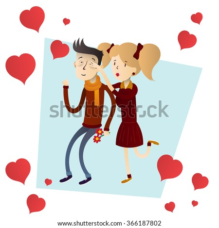 Cute and happy couple vector hand drawn illustration with hearts.
