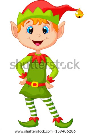 cute and happy looking Christmas elf - stock vector