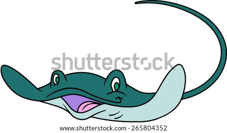 cute happy stingray character stock vector 265804352 shutterstock rh shutterstock com cartoon stingray clip art stingray clipart black and white clker