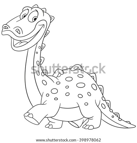 cute and happy young cartoon dinosaur diplodocus, isolated on a white background - stock vector
