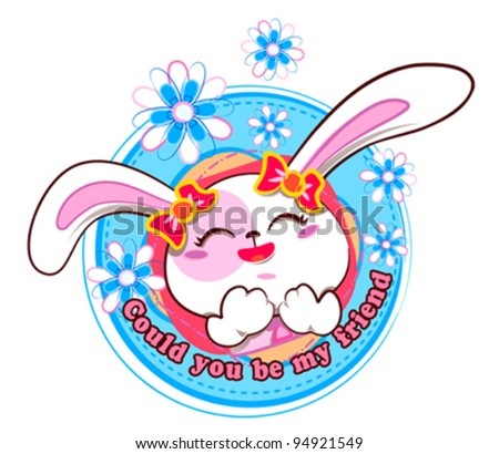 Cute and lovely bunny - stock vector
