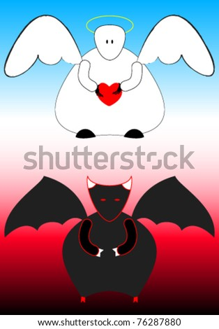 Cute and simple images of angel and devil. - stock vector