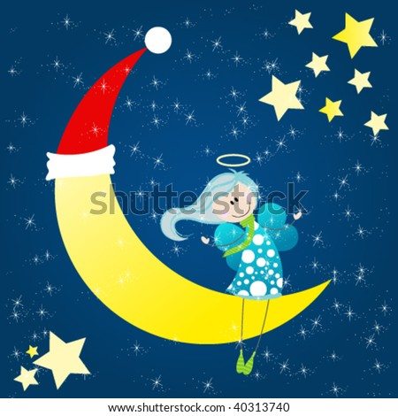 Cute angel sitting on a christmas moon - stock vector