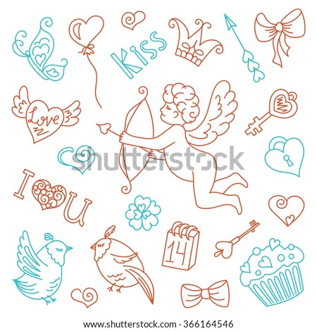 Cute angel with bow and arrows, doodles design elements Valentine's day. Heart, wings, crown, butterfly, bow, key, bird, gift, love, a flower, a kiss. The doodles set vector illustration.