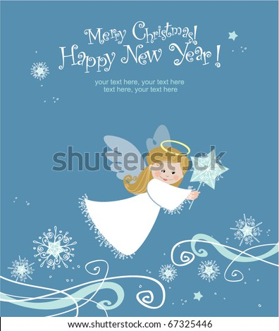 Cute angel with Christmas star - stock vector