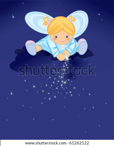 Cute angel with stars - stock vector