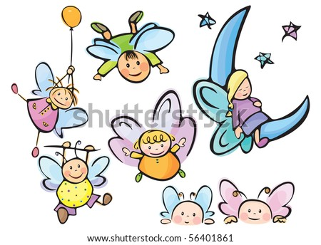 Cute angels for your design - stock vector