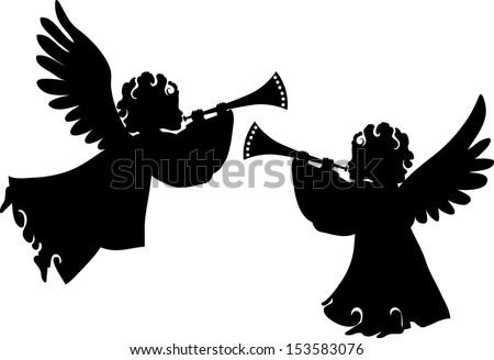 christmas angels silhouette angels trumpet stock images royalty free images vectors 3654