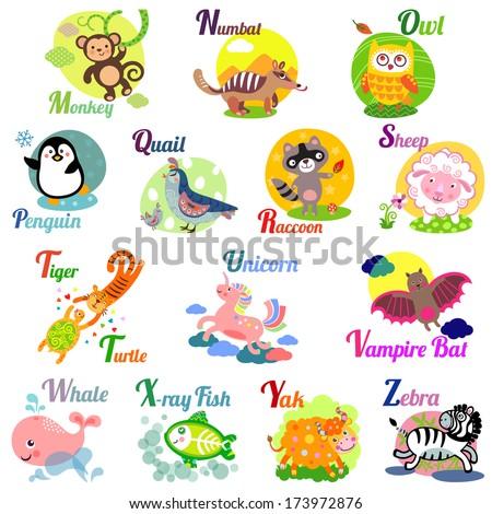 Cute Animal Alphabet Abc Book Vector Stock Vector ...