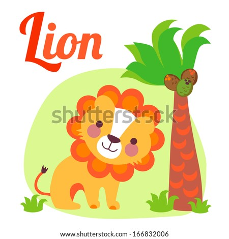 Cute animal alphabet for ABC book. Vector illustration of cartoon lion. l letter for the Lion - stock vector