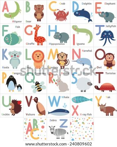 Cute animal alphabet. Funny cartoon animals - stock vector