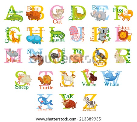 cute animal alphabet funny cartoon character stock vector