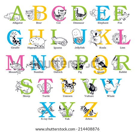 Cute animal alphabet. Funny cartoon character. Vector illustration. Isolated on white background. Set - stock vector