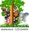 cute animal cartoon wildlife collection on tree - stock vector