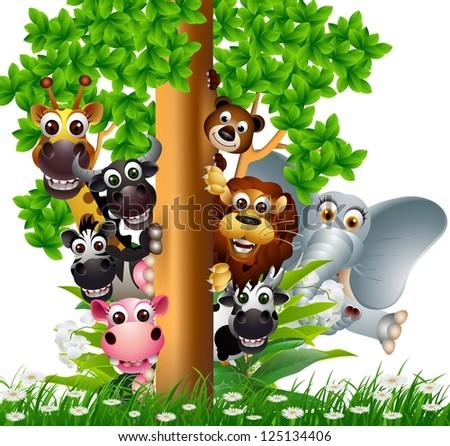 cute animal cartoon wildlife collection on tree - stock vector