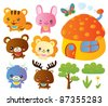 Cute Animal Collection set - stock vector