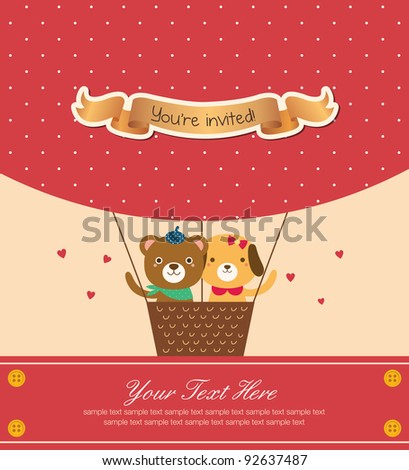 Cute Animal Couple Flying with Hot Air Balloon. Valentine Design. - stock vector