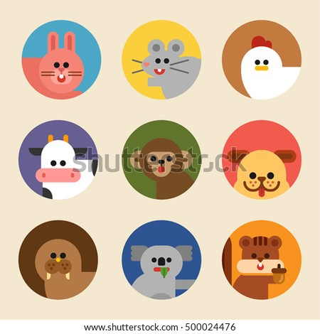cute animal dog rabbit monkey mouse squirrel seal cow koala vector illustration flat design