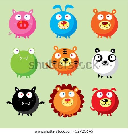cute animal doodle - stock vector