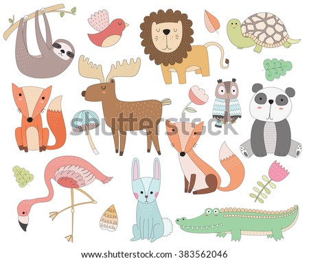 Cute Animal Doodles Isolated Vector Set - stock vector