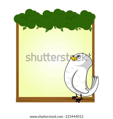 cute animal dove bird blank sign and banner vector - stock vector