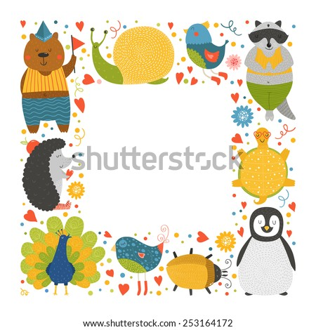 Cute animal frame with baby animals bear, bird, peacock, raccoon, beetle, hedgehog, tortoise,  snail and peacock. Animal border, animal postcard with love - stock vector