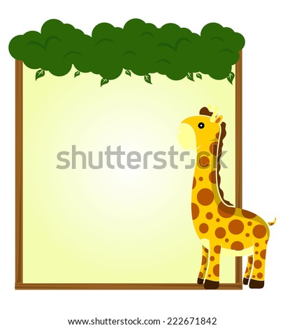cute animal giraffe africa with sign and symbol vector - stock vector