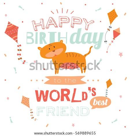 Cute Animal Happy Birthday Card Stylish Stock Vector 569889655