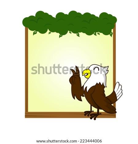 cute animal hawk bird blank sign and banner vector - stock vector