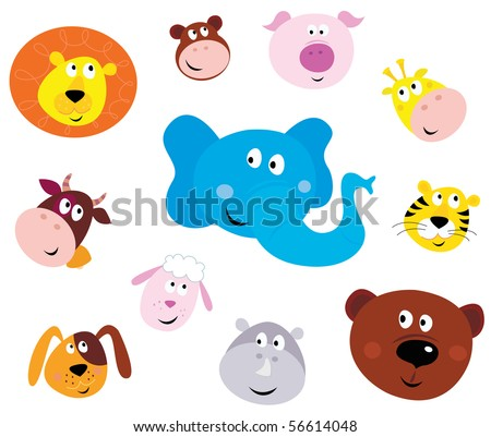 Cute animal head icons ( emoticons ). Vector illustration set of cute animals faces. Animal heads on white background. Lion, Monkey, Pig, Giraffe, Cow, Elephant, Tiger, Sheep, Dog, Hippo and Bear. - stock vector
