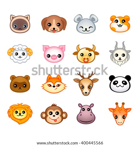 Cute animal heads with emotions in Japanese style - stock vector